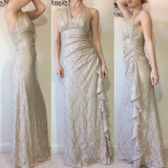 Cache Dresses & Skirts - Cache Gold Lace Stretchy Dress Gown Size 2